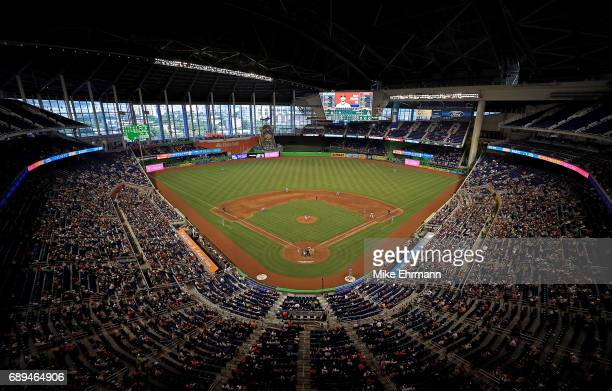 A general view of Marlins Park during a game between the Miami Marlins and the Los Angeles Angels on May 28 2017 in Miami Florida