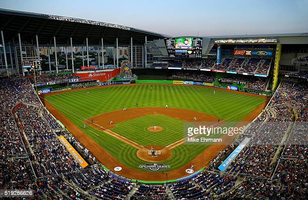 A general view of Marlins Park during the first pitch of 2016 Opening Day between the Miami Marlins and the Detroit Tigers on April 5 2016 in Miami...