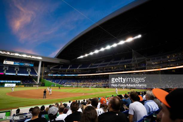 A general view of Marlins Park during the game between the Miami Marlins and the San Francisco Giants on June 13 2018 in Miami Florida