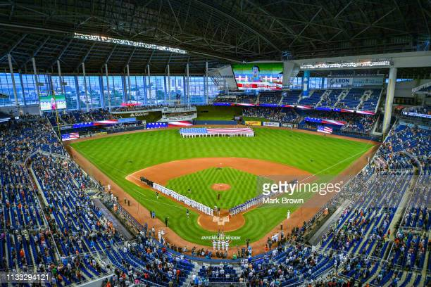A general view of Marlins Park during the National Anthem before the game between the Miami Marlins and the Colorado Rockies during Opening Day at...