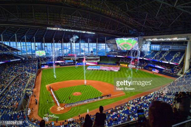 General view of Marlins Park during the National Anthem before the game between the Miami Marlins and the Colorado Rockies during Opening Day at...