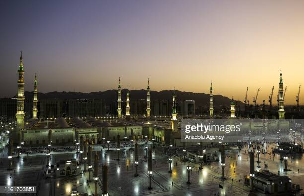 General view of Masjid alNabawi the mosque that incorporates the final resting place of Prophet Muhammad and the first two Rashidun caliphs Abu Bakr...