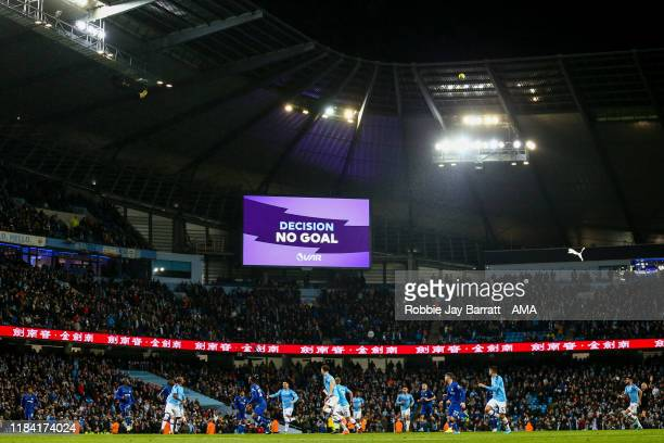 General view of match action as VAR rules out Raheem Sterling of Manchester City goal to make it 3-1 during the Premier League match between...