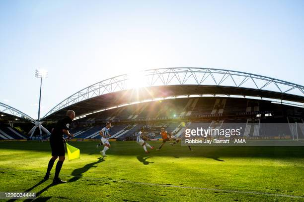 General view of match action at and empty The John Smiths Stadium, home stadium of Huddersfield Town as matches are played behind closed doors due to...