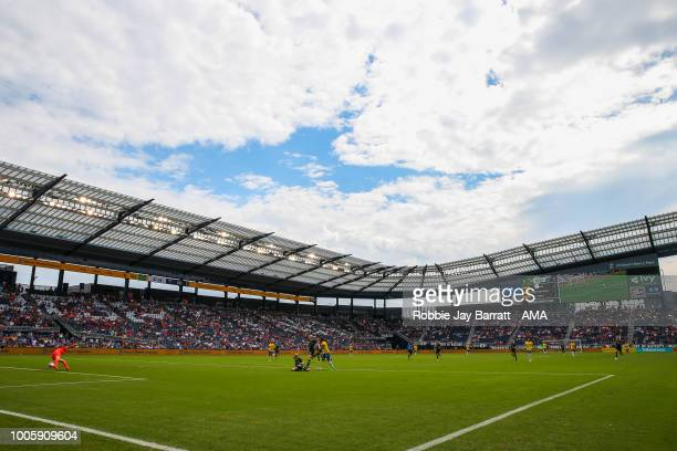 General view of match action at Children's Mercy Park during the 2018 Tournament Of Nations women match between Australia and Brazil at Children's...