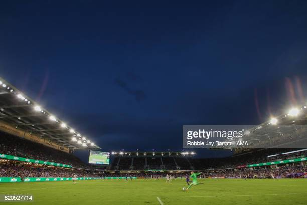 General view of match action at dusk at Orlando City Stadium home stadium of Orlando City during the MLS match between Atlanta United and Orlando...