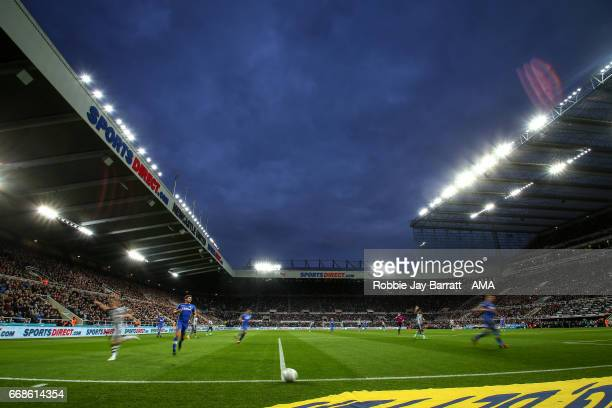 A general view of match action at dusk during the Sky Bet Championship match between Newcastle United and Leeds United at St James' Park on April 14...