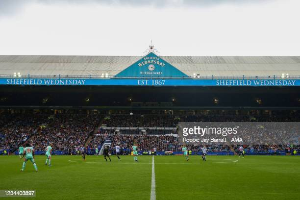 General view of match action at Hillsborough Stadium, home stadium of Sheffield Wednesday as fans are back in for the first time since lock down...