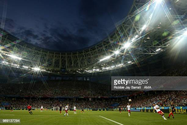 A general view of match action at Nizhny Novgorod Stadium under dusk skies during the 2018 FIFA World Cup Russia Round of 16 match between 1st Group...
