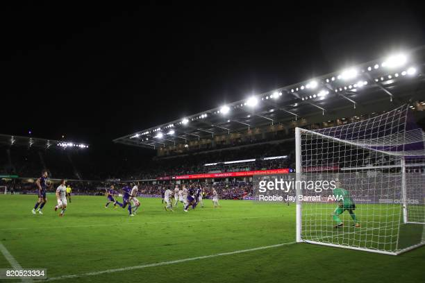 General view of match action at Orlando City Stadium home stadium of Orlando City during the MLS match between Atlanta United and Orlando City at...