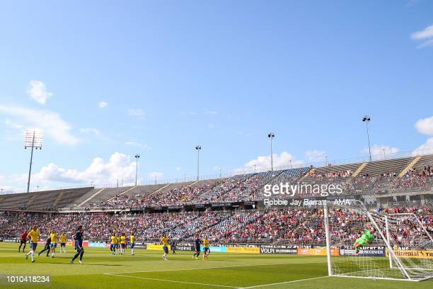A general view of match action at Pratt Whitney Stadium during the Tournament of Nations match between Japan and Brazil at Pratt Whitney Stadium on...