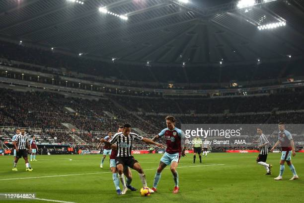 A general view of match action at St James Park home stadium of Newcastle United during the Premier League match between Newcastle United and Burnley...