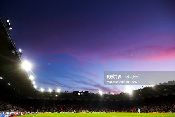 General view of match action at St Marys, home stadium of Southampton at dusk during the Premier League match between Southampton FC and...