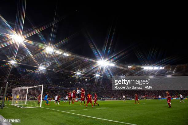 General view of match action at Stadio Olimpico home stadium of AS Roma during the UEFA Champions League Semi Final Second Leg match between AS Roma...
