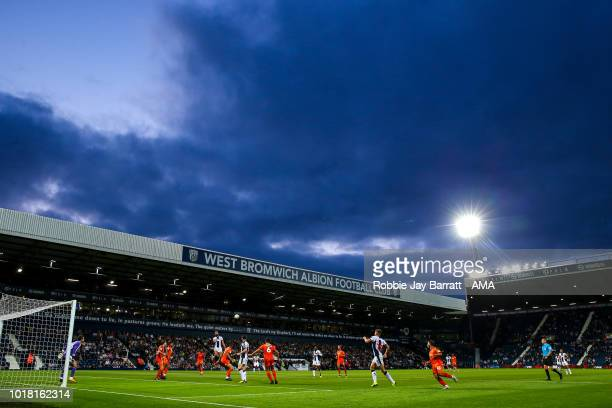 A general view of match action at The Hawthorns home stadium of West Bromwich Albion under dusk skies during the Carabao Cup First Round match...