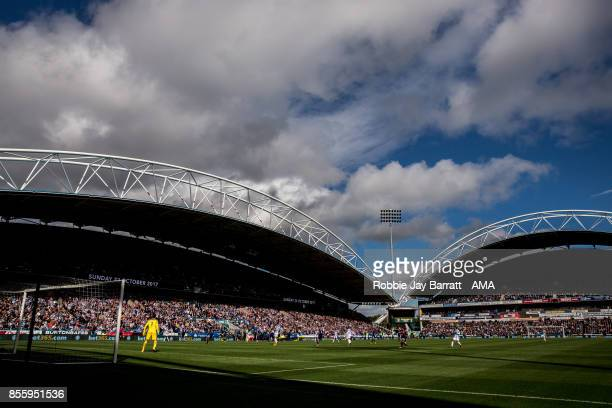 General view of match action at The John Smiths Stadium home stadium of Huddersfield Town during the Premier League match between Huddersfield Town...