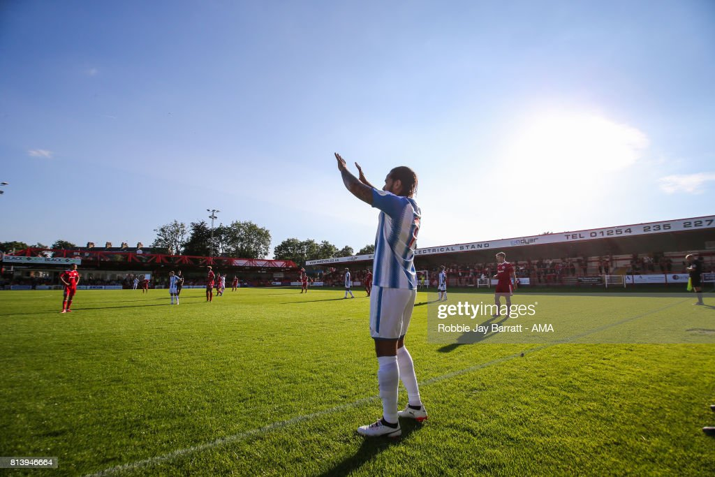 General view of match action at Wham Stadium, home stadium of Accrington Stanley during the pre-season friendly match between Accrington Stanley and Huddersfield Town at Wham Stadium on July 12, 2017 in Accrington, England.