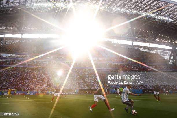 A general view of match action during sunset at Kazan Arena during the 2018 FIFA World Cup Russia Round of 16 match between France and Argentina at...