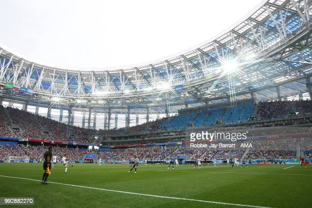 General View of match action during the 2018 FIFA World Cup Russia Quarter Final match between Uruguay and France at Nizhny Novgorod Stadium on July...