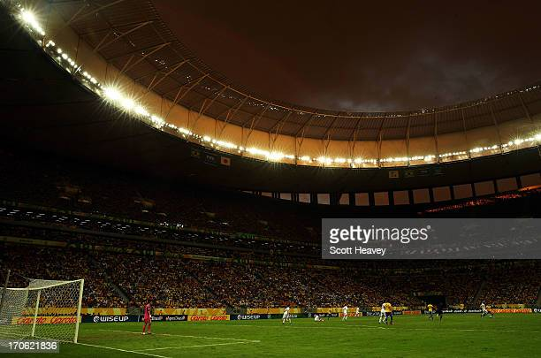 General View of match action during the FIFA Confederations Cup Brazil 2013 Group A match between Brazil and Japan at National Stadium on June 15...