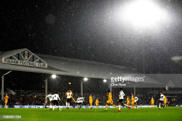 A general view of match action during the Premier League match between Fulham and Brighton Hove Albion at Craven Cottage on January 29 2019 in London...