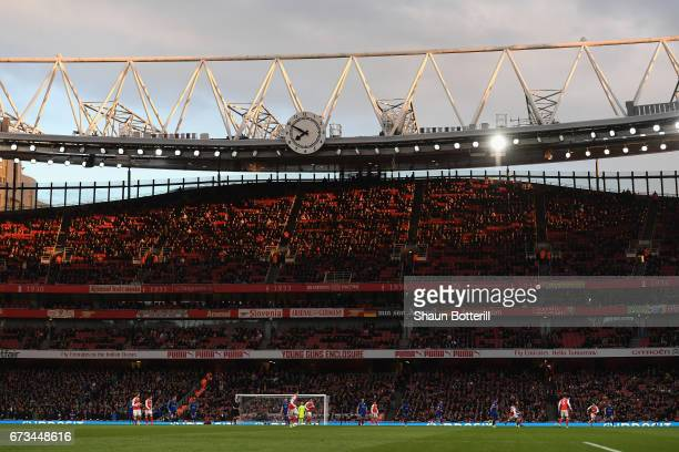 A general view of match action during the Premier League match between Arsenal and Leicester City at the Emirates Stadium on April 26 2017 in London...