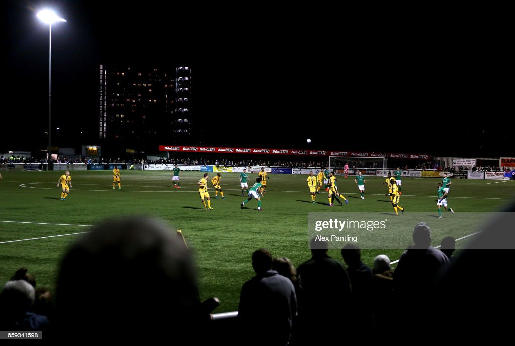 A general view of match action during the Vanarama National League match between Sutton United and Lincoln City at Gander Green Lane on March 28, 2017 in Sutton, Greater London.