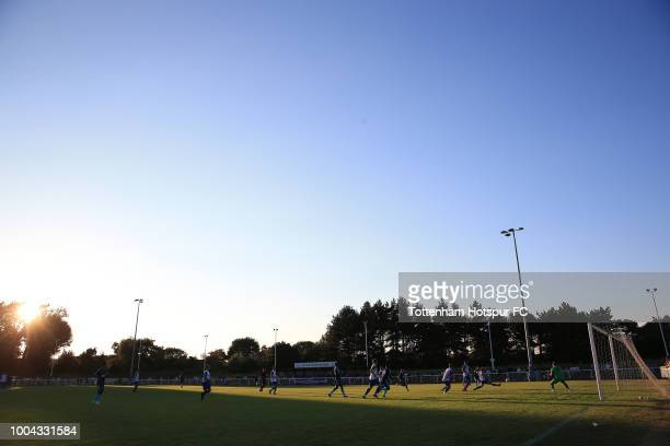 General view of match action in the 1st half during the Pre-Season Friendly match between Enfield Town and Tottenham Hotspur U23 at Queen Elizabeth...