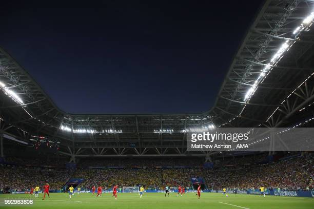 General View of match action in the Kazan Arena during the 2018 FIFA World Cup Russia Quarter Final match between Brazil and Belgium at Kazan Arena...