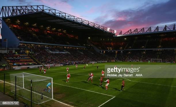 General view of match action under a sunset during the Sky Bet League One Playoff Semi Final First Leg match between Bradford City and Fleetwood Town...