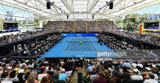 General view of match between Serena Williams of the USA and Naomi Osaka of Japan during the 'A Day at the Drive' exhibition tournament at Memorial...