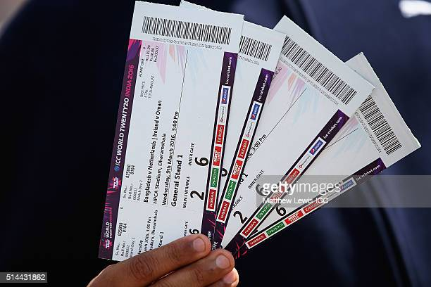 A general view of match day tickets ahead of the ICC Twenty20 World Cup match between Bangladesh and Netherlands at HPCA Stadium on March 9 2016 in...