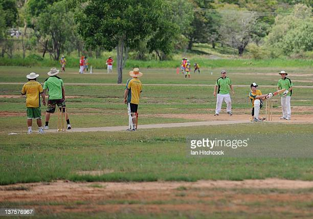A general view of matches being played during the 2012 Goldfield Ashes cricket competition on January 22 2012 in Charters Towers Australia Every year...