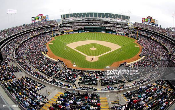 General view of McAfee Coliseum during Oakland Athletics' game against the Boston Red Sox ini Oakland, Calif. On Wednesday, May 18, 2005.