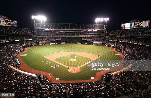 A general view of McAfee Coliseum during the Oakland Athletics and Toronto Blue Jays MLB game April 11 2005 at the McAfee Coliseum in Oakland...