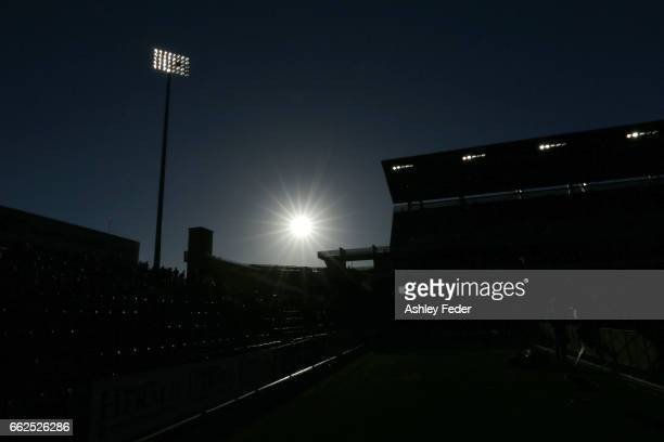 General View of McDonald Jones Stadium during the round 25 ALeague match between the Newcastle Jets and the Western Sydney Wanderers at McDonald...
