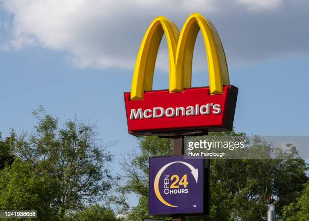 General view of Mcdonlads branding as Mcdonalds follow KFC and resume trading in Wales following lockdown in the next 24 hours as a drive through...