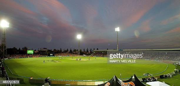 A general view of McLean park at sunset during the first international one day cricket match between New Zealand and India in Napier at McLean Park...