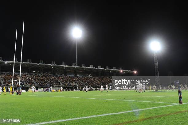General view of McLean Park during the round eight Super Rugby match between the Hurricanes and the Sharks at McLean Park on April 6 2018 in Napier...