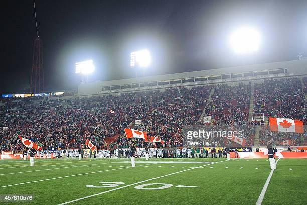 A general view of McMahan Stadium during a moment of silence for fallen Canadian soldier Nathan Cirillo prior to a CFL game between the Calgary...