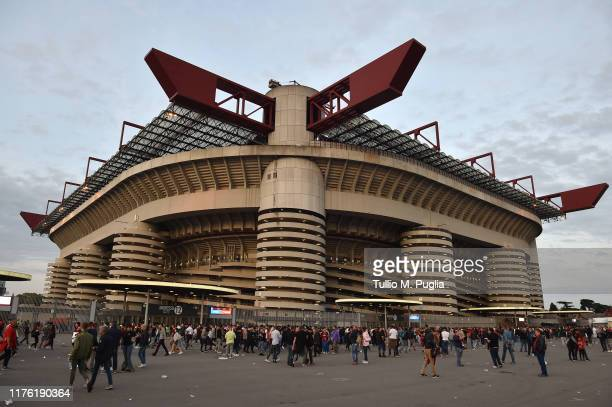 General view of Meazza Stadium ahead of the Serie A match between AC Milan and FC Internazionale at Stadio Giuseppe Meazza on September 21, 2019 in...