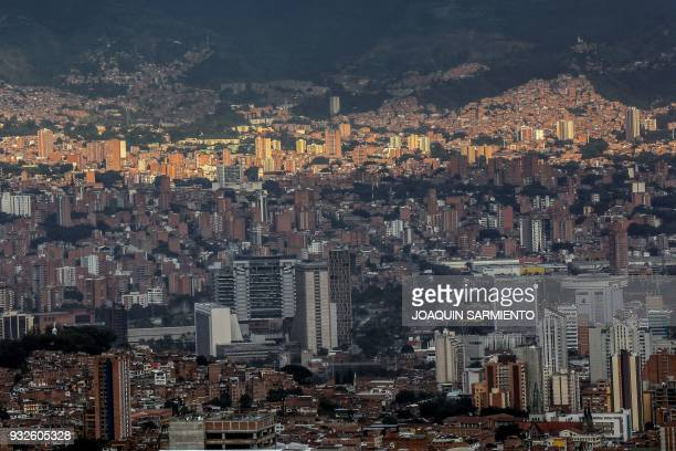 A general view of Medellin Antioquia department Colombia on March 15 2018 The sixth IPBES Biodiversity Summit will take place from March 17 to 26 in...
