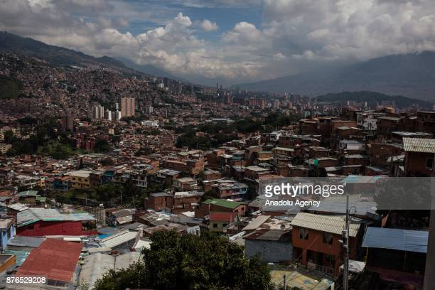 General view of Medellin Colombia on November 19 2017 Mural graffitis from different artists street art can be seen in almost every city on Earth but...