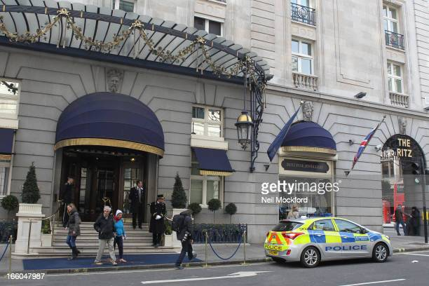 General view of media and police outside The Ritz Hotel where Margaret Thatcher reportedly died on April 8 2013 in London England It has been...