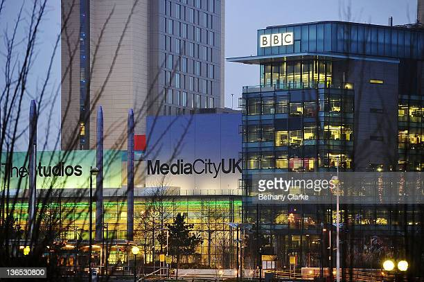 A general view of Media City on January 6 2012 in Salford Manchester England The Media City complex is the new base for up to 2300 BBC staff with the...