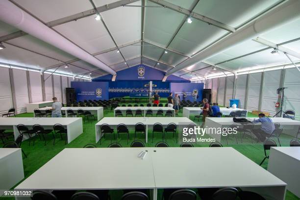 A general view of media press room at Yug Sport Stadium the training site for the Brazil football team during the FIFA 2018 World Cup on June 10 2018...