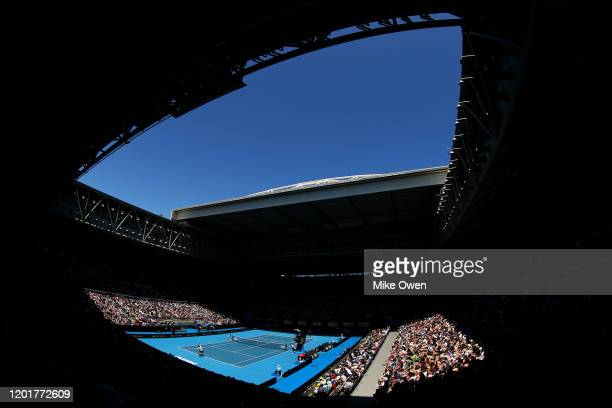 A general view of Melbourne Arena during the Men's Singles third round match between Gael Monfils of France and Ernests Gulbis of Latvia on day six...