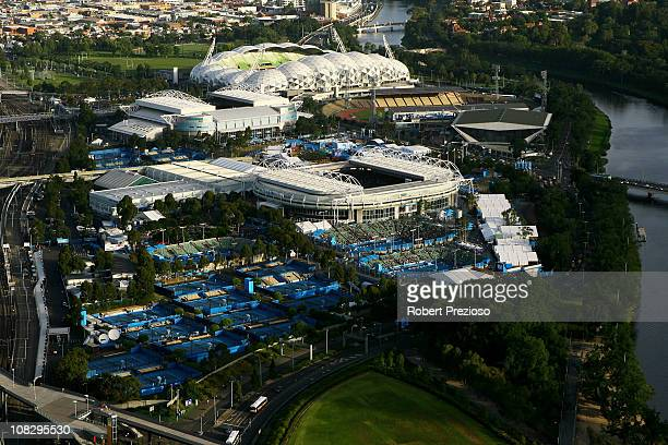A general view of Melbourne Park AAMI Park and Olympic Park during day eight of the 2011 Australian Open on January 24 2011 in Melbourne Australia