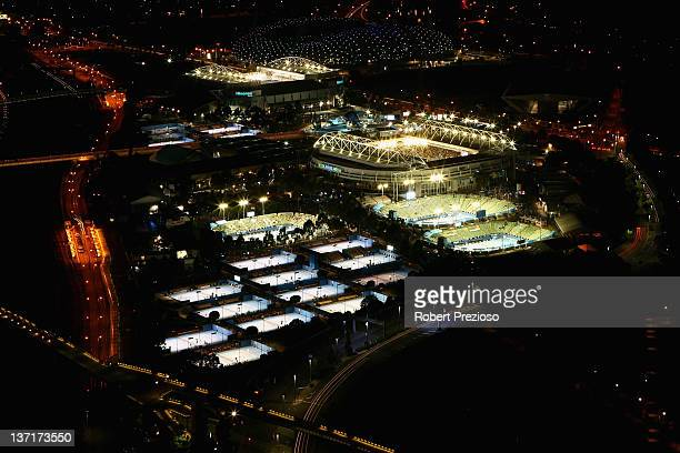A general view of Melbourne Park AAMI Park and Olympic Park during day one of the 2012 Australian Open at Melbourne Park on January 16 2012 in...