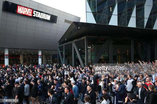 General view of Melbourne Victory fans as they march towards Marvel Stadium prior to the round one A-League match between the Melbourne Victory and...